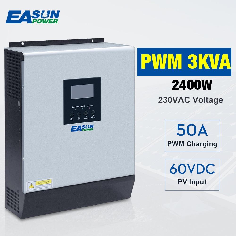 3000VA 2400W Pure Sine Wave Hybrid Solar Inverter 24VDC Input 220VAC Output Build in 50A PWM