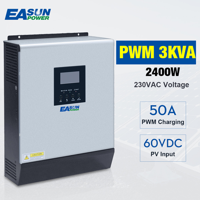 3000VA 2400W טהור סינוס גל היברידי שמש מהפך 24VDC קלט 220VAC לבנות פלט 50A PWM מטען סולארי בקר & AC מטען