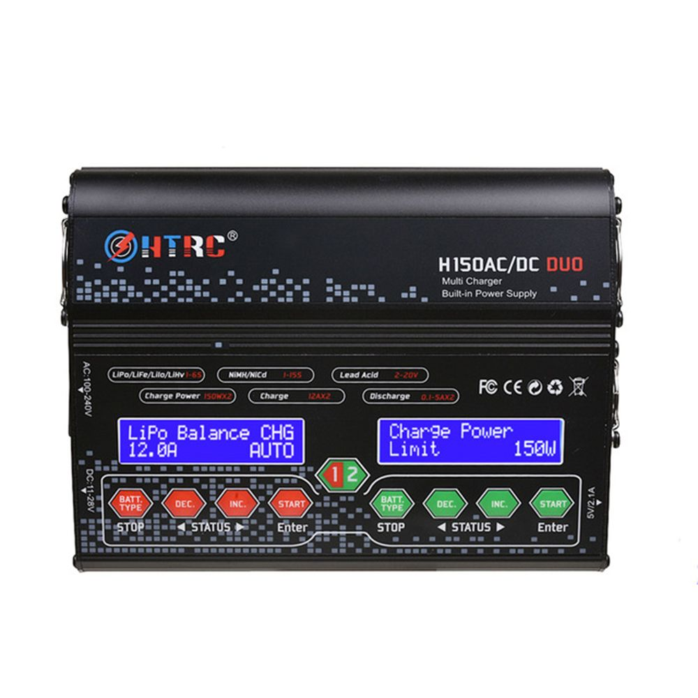 HTRC H150 DUO AC/DC 300WX2 12AX2 Dual Output Batterij Balans Lader Ontlader Voor Lilon LiPo LiFe LiHV Batterij RC Modellen Speelgoed-in Onderdelen & accessoires van Speelgoed & Hobbies op  Groep 2