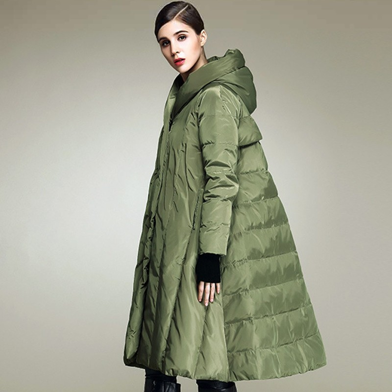 Casual Winter Jacket Women New Fashion Skirt Parka Loose Plus size Thicken   Down   Overcoat Keep warm Long Feather   Coat   Female L219