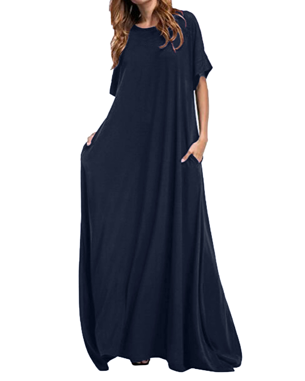 Women Half Sleeve Solid Round Neck Long Maxi Dress ZANZEA 2019 Casual Loose Long Elegant Robe Bodycon Dresses Vestidos Plus Size