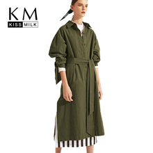 Kissmilk Large Plus Size Lapel Single-breasted Side Slit Trench Winter Long Coat Women Windbreaker Overcoat Army Green недорого