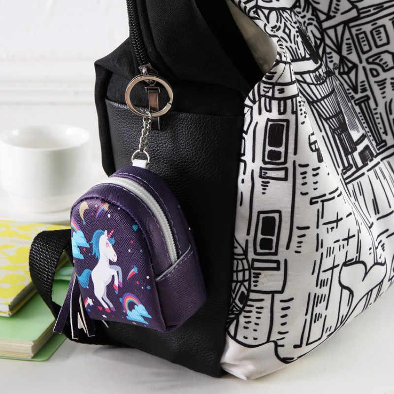 Cartoon Tassel Mini Back Pack moneta torebka kobiety słuchawki słuchawki portmonetka etui dla dzieci brelok do kluczy z jednorożcem PU mały portfel z zamkiem błyskawicznym