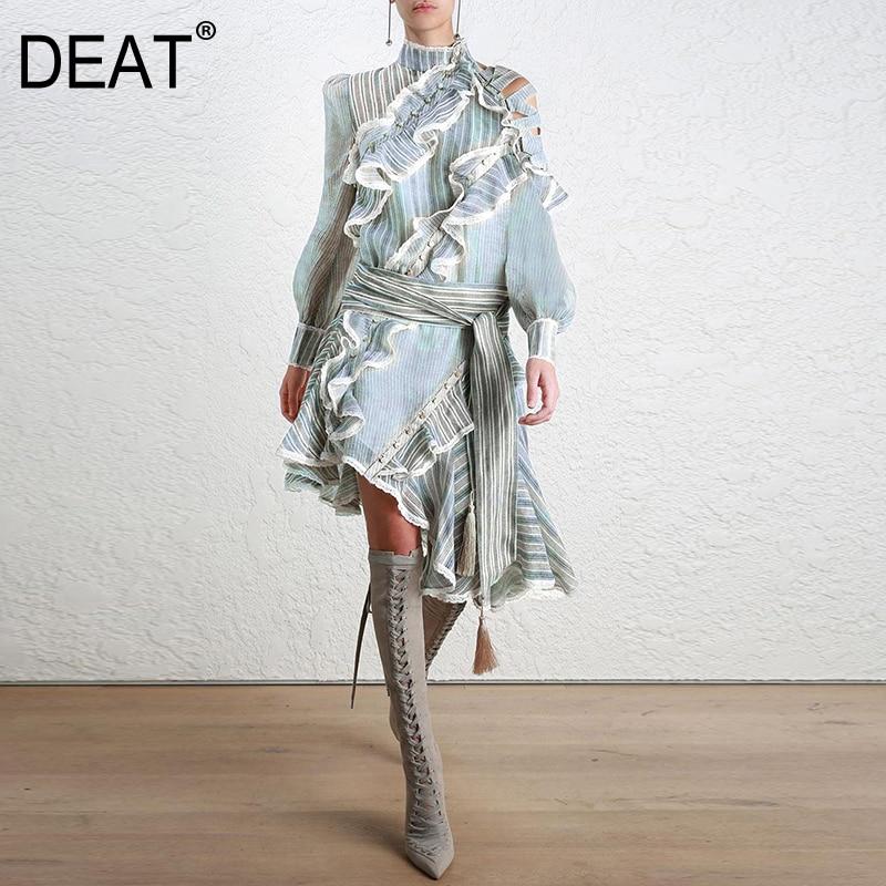 DEAT Striped Dress Female Ruffles Off Shoulder Lantern Sleeve Belt High Waist Asymmetrical Dresses 2018 Spring