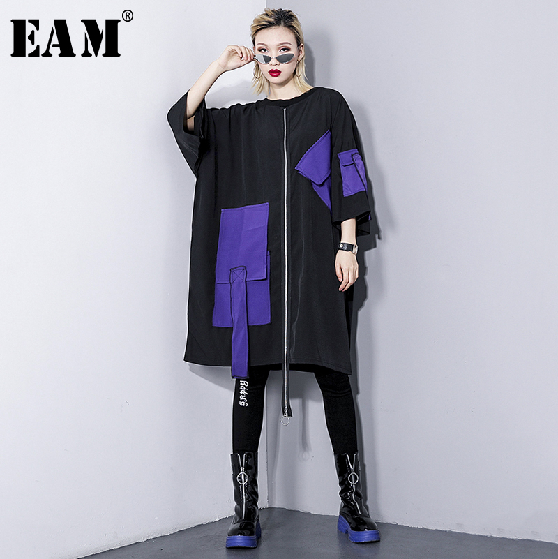 [EAM] 2019 New Spring Summer Round Neck Three-quarter Sleeve Irregular Big Pocket Bucklle Big Size Dress Women Fashion JQ605