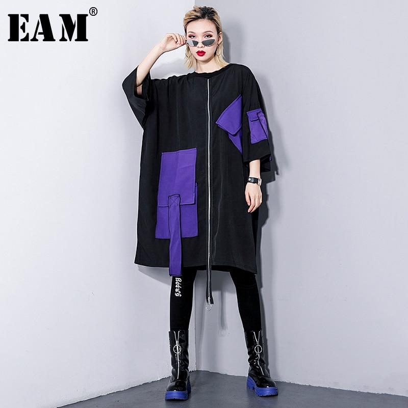 [EAM] 2020 New Spring Summer Round Neck Three-quarter Sleeve Irregular Big Pocket Bucklle Big Size Dress Women Fashion JQ605