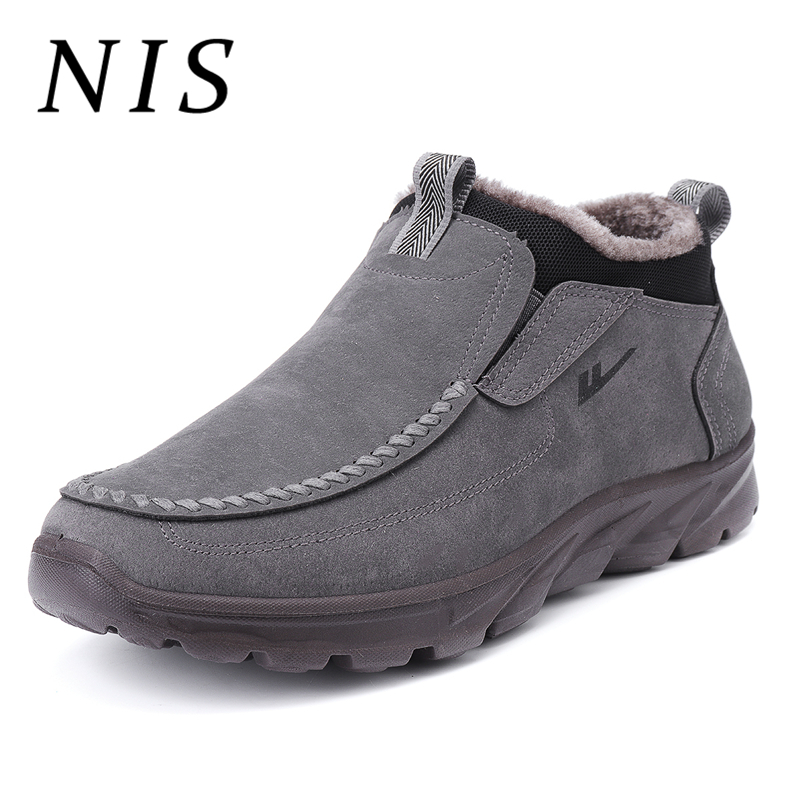 NIS Shoes Men Boots Sneakers Ankle Fur-Lined Winter Casual New Warm Plush No Loafers