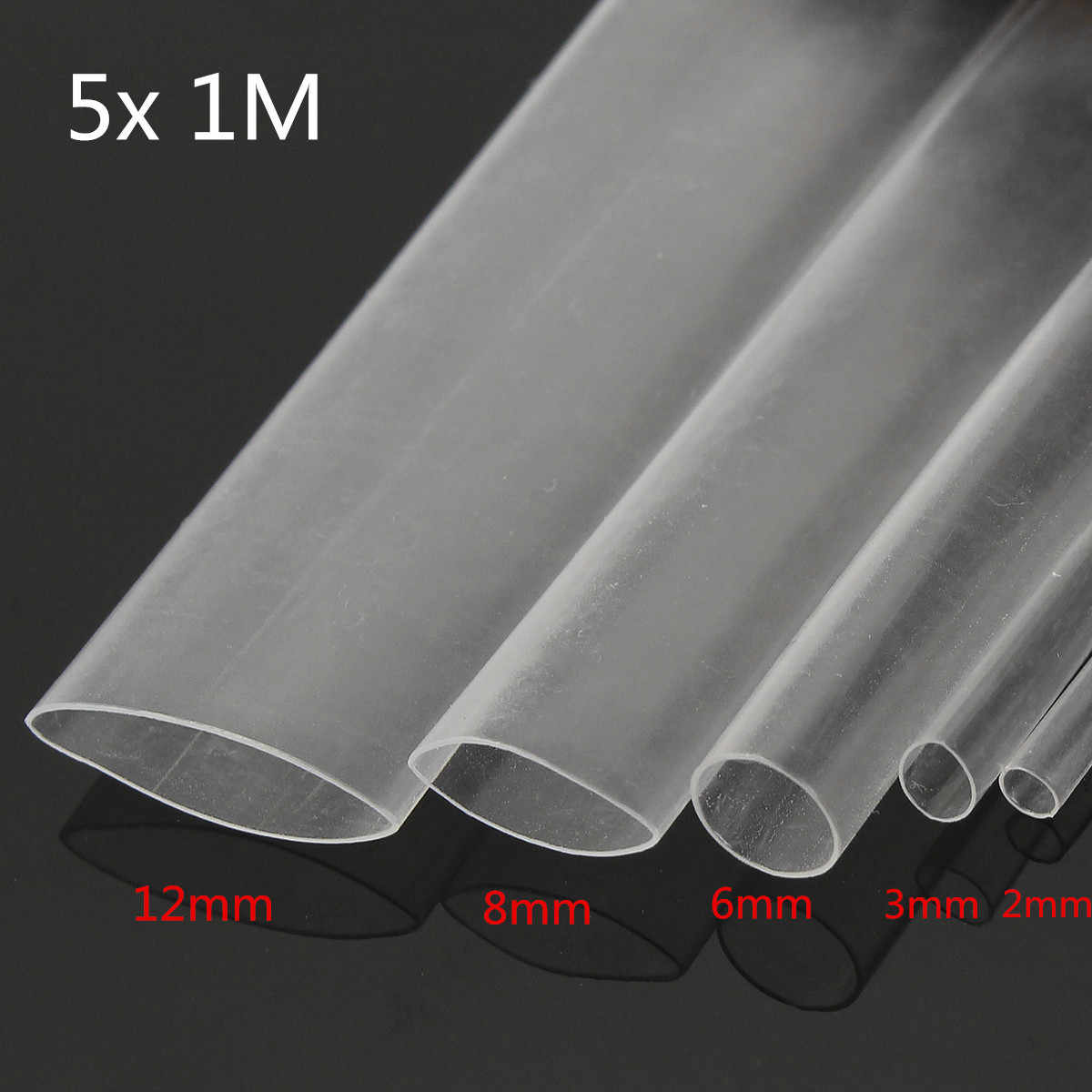 5 pièces 1 M Transparent 2:1 thermorétractable tube Transparent câble fil gainer Wrap 2.0/3.0/6.0/8.0/12.0mm