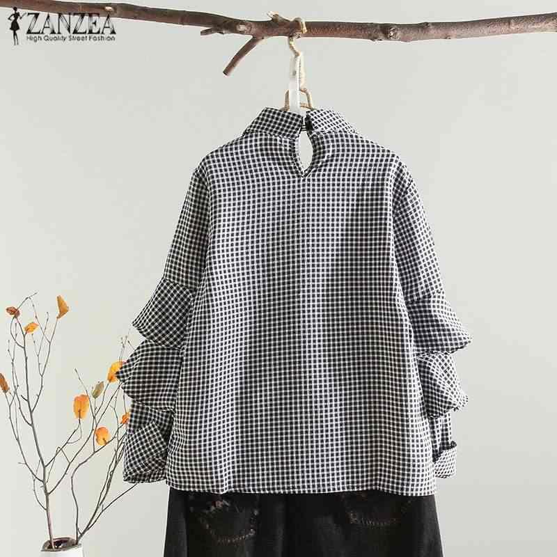 Топ Мода 2019 г. ZANZEA весенние вечерние рубашки женские повседневные свободные блузы с длинными рукавами винтажная клетчатая плиссированная мешковатая блузка женская