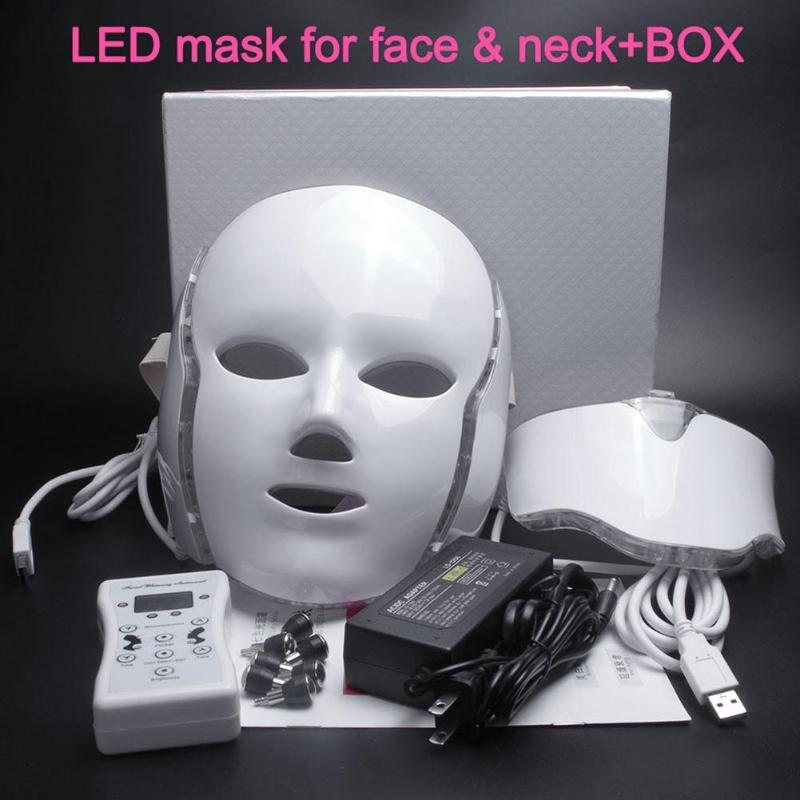 7 Colors Photon Electric LED Facial Mask with Neck Skin Rejuvenation Anti Acne Wrinkle Beauty Treatment Face Care Tools Mask маска librederm plant stem cells anti age mask intensive care for face neck and decollete