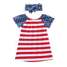 toddler girl summer clothes 4th of july girls dress christmas thanksgiving kids fashion 2018 casual striped o-neck cotton baby