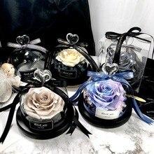 Эксклюзивная Роза в стеклянном куполе с огнями-настоящая Роза, Красавица и Чудовище сохранил подарок на день Святого Валентина