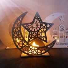 Placa de madera de Eid Mubarak Ramadán, decoración para el hogar, Luna, Túnica islámica, musulmana, colgante, suministros para fiestas y festivales A