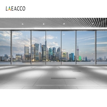 Laeacco Indoor City Buldings Floor To Ceiling Windows Photography Backgrounds Photocall Photographic Backdrops For Photo Studio
