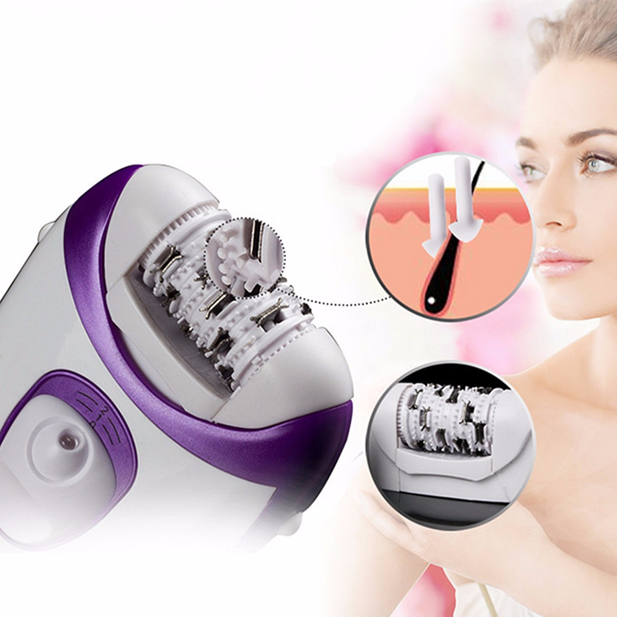 Rechargeable 4 In 1 Electric Callus Remover Epilator Tweezer Hair Removal Shaver Electric Lady Rechargeable Quick EU Plug Light
