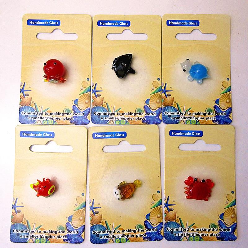 Custom hand made lampwork murano glass Octopus/Crab miniature Figurines pendant Japanese-style cartoon marine animals ornament