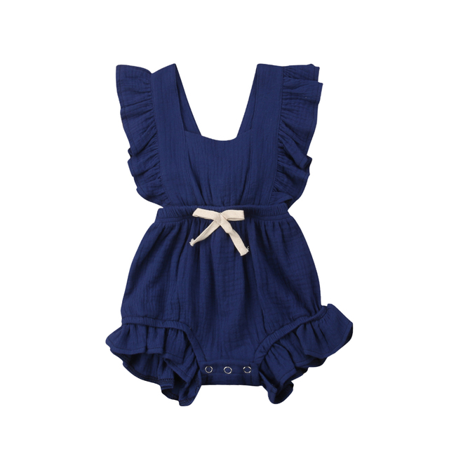 6 Color Cute Baby Girl Ruffle Solid Color Romper  Jumpsuit Outfits Sunsuit for Newborn Infant Children Clothes Kid Clothing 4
