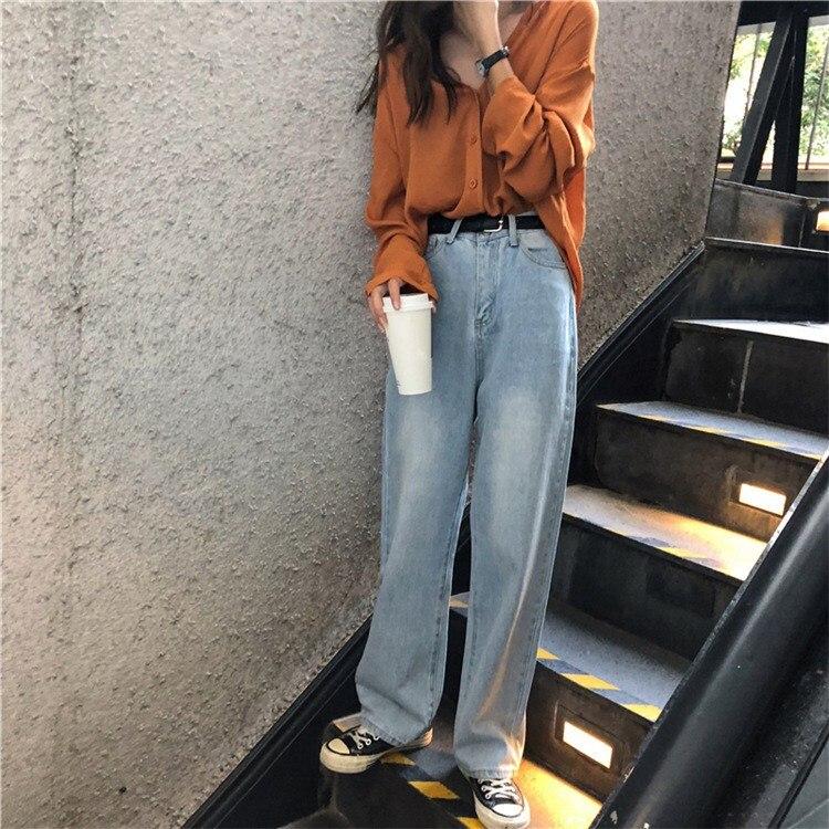 2019 Korean Style Casual High Waist Women   Jeans   Wide Leg Pants Autumn Spring Long Denim Loose Pants Light Bule Denim Trousers