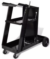 Vidaxl Max 40 Kg Welding Cart Black Trolley With 3 Black Painted Shelves Workshop Organizer Salon Trolley Commercial Furniture