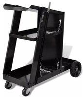 Vidaxl Max 40 Kg Welding Cart Black Trolley With 3 Black Painted Shelves Workshop Organizer Salon Trolley Commercial Furniture