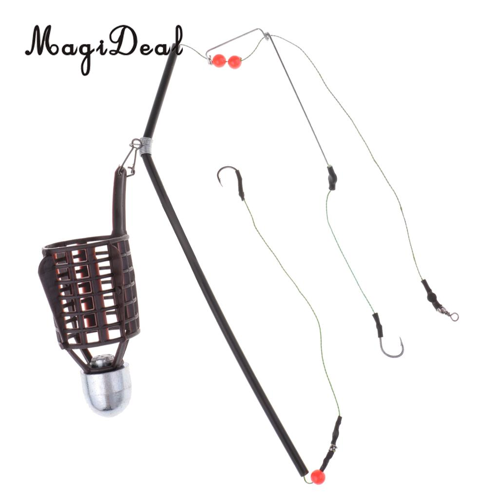 20g 30g 40g 2 Hooks Fish Bait Feeder Basket Holder Fishing Lure Cage With Line Hooks Fishing Accessories