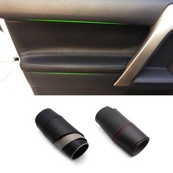 цена на For Toyota Prado 2010 2011 2012 2013 2014 2015 2016 2017 2018 4pcs Microfiber Leather Interior Door Panel Cover Protection Trim