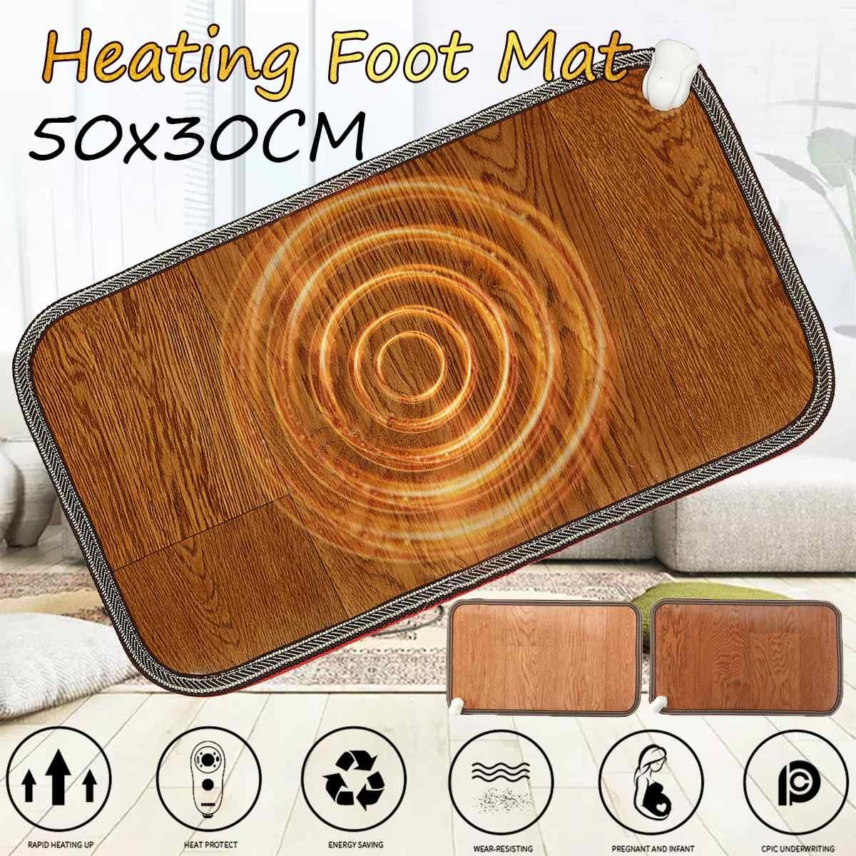 Коврик для ног с электроподогревом, зимний ковер для офиса и дома, термостат для теплого стопа, кожаный, для домашнего обогрева, 2 цвета