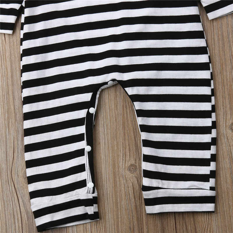 Комбинезон для новорожденных мальчиков и девочек от 0 до 24 месяцев, черно-белый комбинезон в полоску с капюшоном и длинными рукавами, комбинезон, одежда для малышей