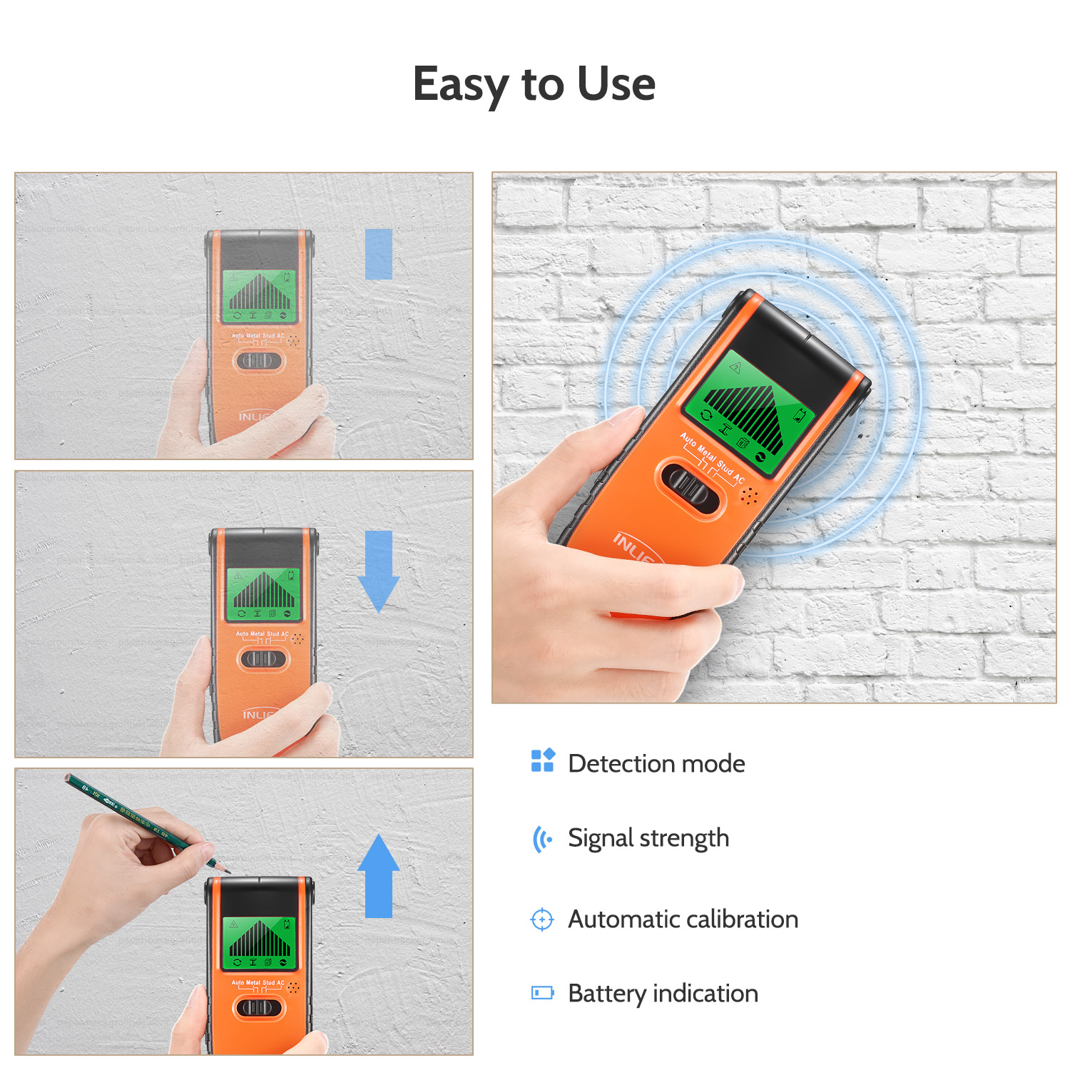 hight resolution of inlife th115 3 in 1 stud finder wood metal detector wiring ac live wire wall scanner detector electric box finder lcd display in industrial metal detectors