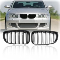 For BMW E87 1 Series 08 13 Pair New Matte Black Front Kidney Grill Grille