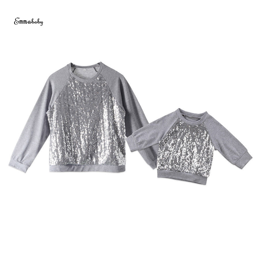 Mutter & Kinder Frauen Neugeborenen Baby Mädchen Oansatz Pailletten Top Baumwolle Langarm Grau Farben T-shirt Kleidung