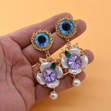 Vintage Baroque Women eye flower drop earrings with pearl crystal  Drop Earrings Exaggerated Style Party Show Jewelry Earrings
