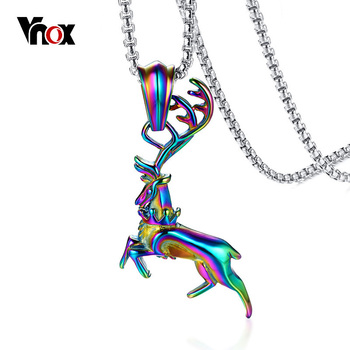 Vnox Multi Color Elk Deer Pendant for Men Necklace 24 Box Chain Stainless Steel Rainbow Stylish Male Jewelry Hip hop crucifixo pingente de ouro masculino