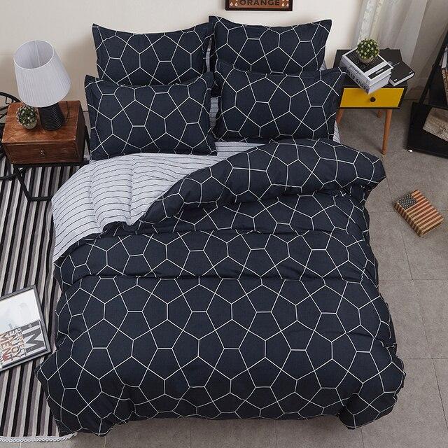 MIGLIOR hotel di lusso nero strisce Duvet letto appartamento Lenzuola + Federa R