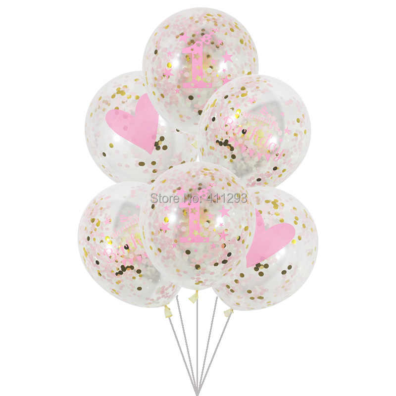 6 Pcs Lot Girl Boy Kids Birthday Ballons 1 2 3 4 5 7