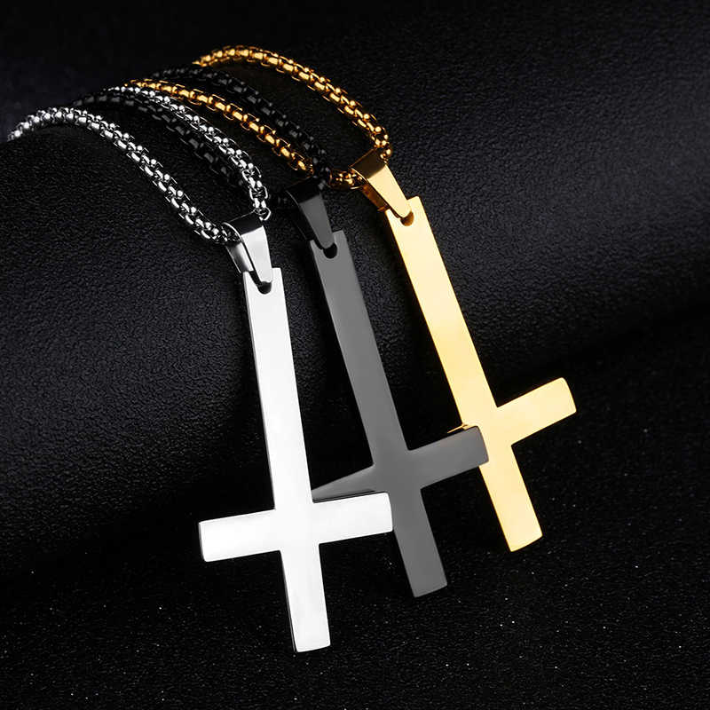 LNRRABC Fashion Stainless Steel Inverted Cross Pendant Necklace Punk Black Silver Necklace Men's Adjustable Necklace