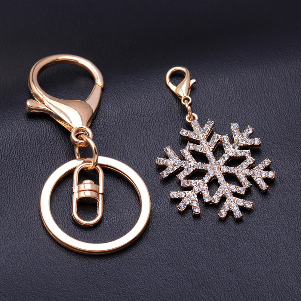 Christmas Snowflake Diamond Keychain Car Keyring  Bag Pendant Purse Decoration Keychain New Year Commemorative Gifts
