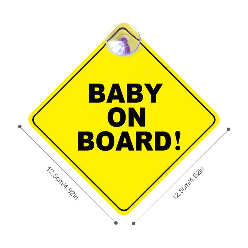 Image 5 - 1mm Thickness Car Sticker BABY ON BOARD Baby Car Warning Signal Safety Sign Environmental Protection Suction Cup Style Sticker-in Car Stickers from Automobiles & Motorcycles