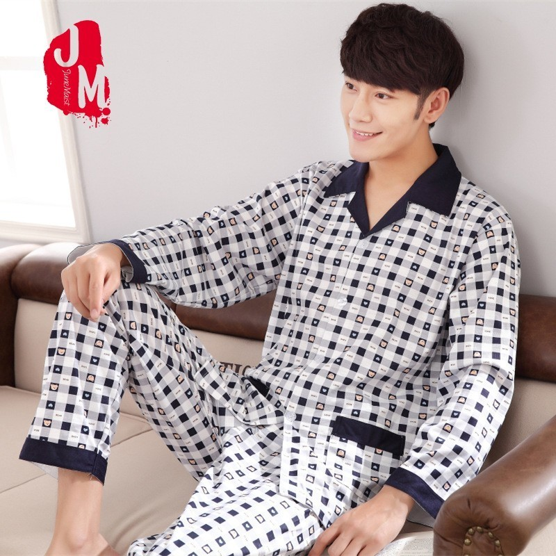 Men Pyjama Set 100% Cotton Spring Long Sleeve Plaid Men Pajama Suit Autumn Nightwear Collar Pijama Male Sleepwear Two Piece XXXL(China)