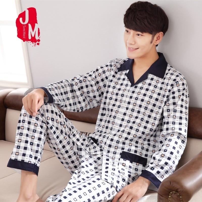 Men Pyjama Set 100% Cotton Spring Long Sleeve Plaid Men Pajama Suit Autumn Nightwear Collar Pijama Male Sleepwear Two Piece XXXL