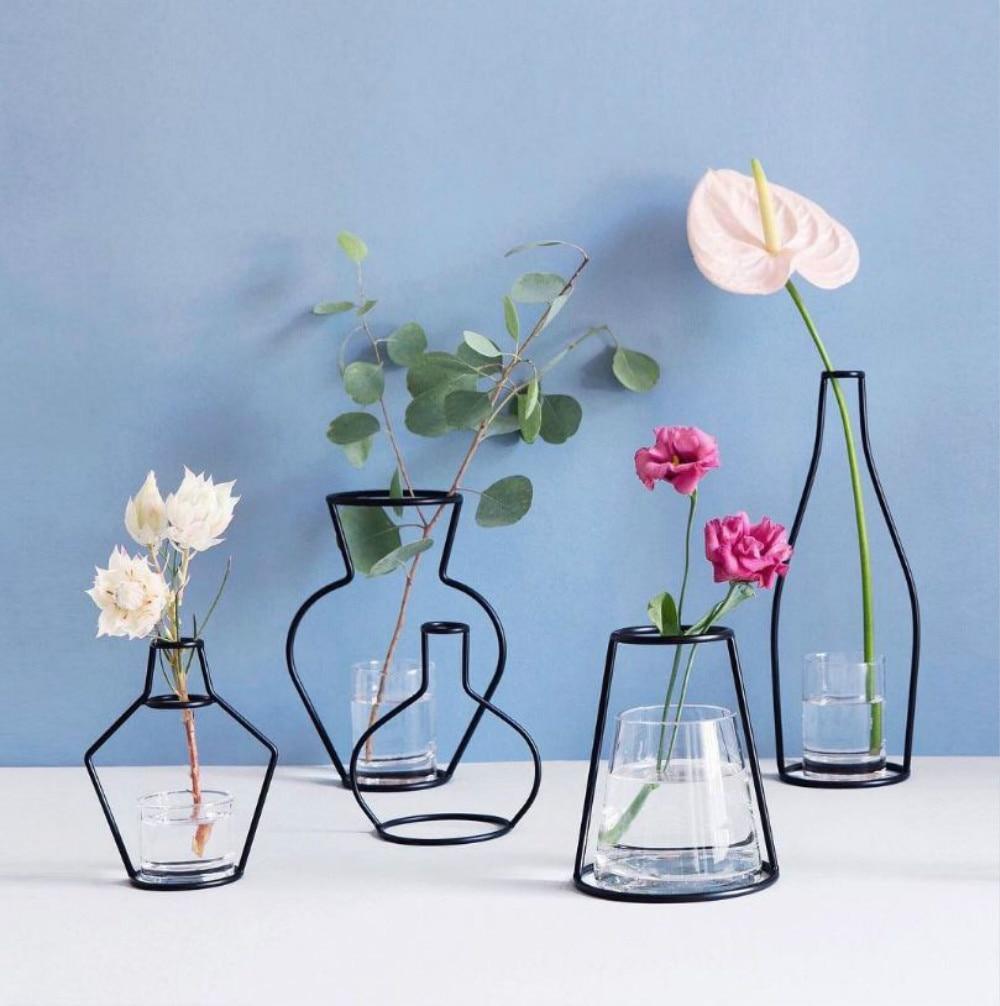 8 Stil Kreative Eisen Linie Blume Pflanze Vase Stehen Halter Terrarium Container Home Decor Weihnachten 2019