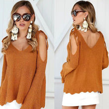 цена на 2017 Women's V-Neck Knitted Sweater Oversized Long Sleeve Loose Jumper Tops Knitwear Pullovers Solid Sweater