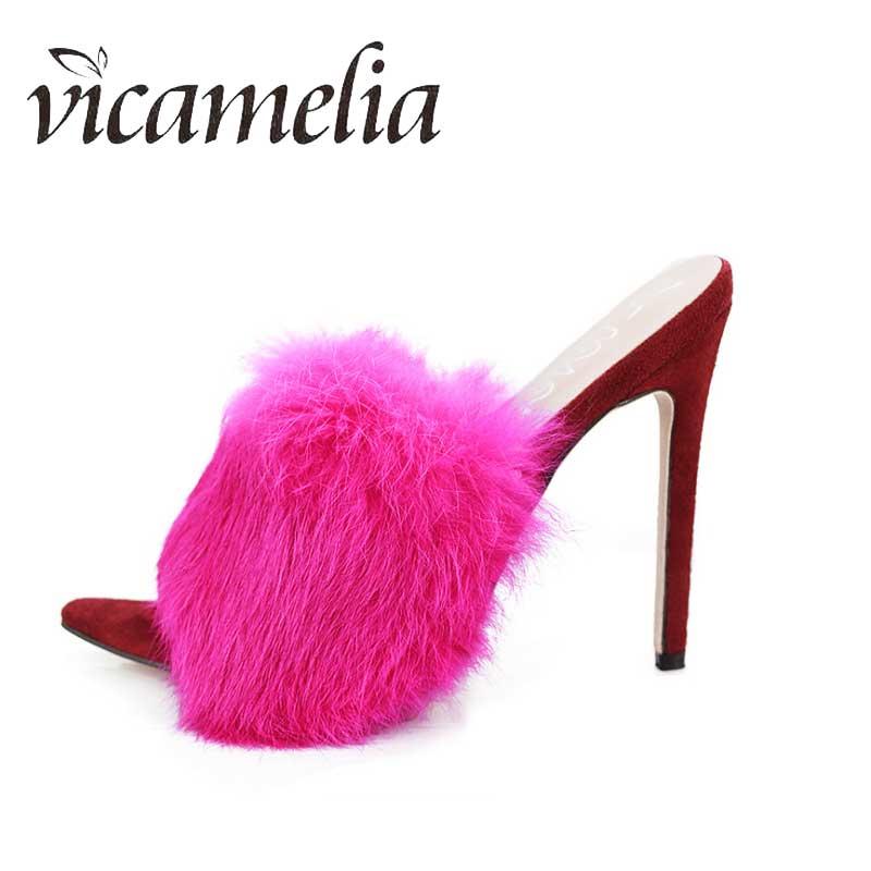 Vicamelia Women Shoes Slippers Slide-Sandals Heels Ladies New Casual Thin 43 Fur 229