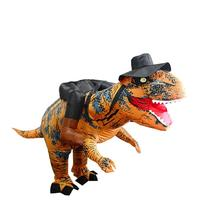 Stand Riding T Rex Dinosaur Inflatable Costumes Halloween Party Dress Cosplay Suit Prop with Hat Fancy Dress Party Decoration