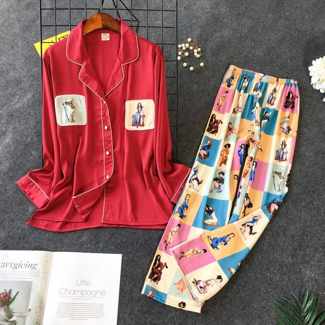 Nouveau modèle tache pyjamas femme coréen doux belle imiter vraie soie pyjama ensemble à manches longues pantalon 2 pièces vêtements de nuit