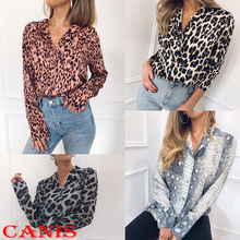 4ecc2ae3749 Women s Leopard Button up Color Block Striped Blouse Long Sleeve Casual  Tops Shirt Blouse(China