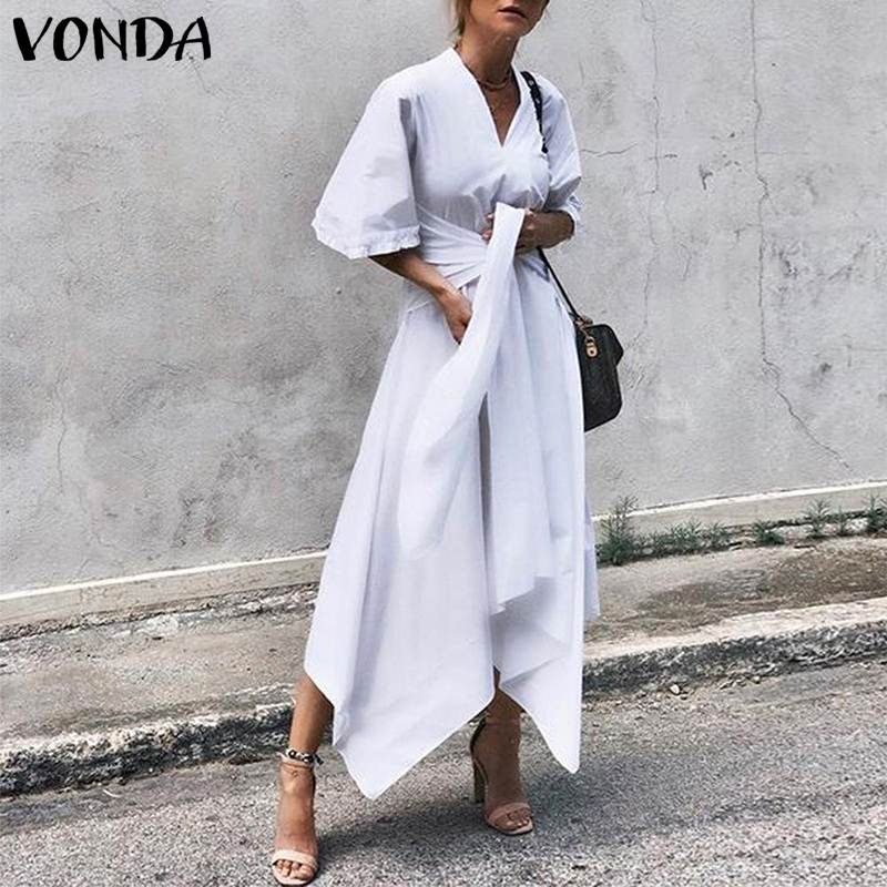 VONDA 2019 Summer Dress Vintage Long Maxi Dress Women Short Sleeve Sexy V Neck Asymmetrical High Waist Party Vestidos Plus Size
