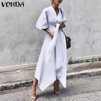 VONDA Мода 2019 летнее платье винтажное Длинное Макси платье для женщин с коротким рукавом Сексуальная v-образным вырезом Асимметричная с высок...