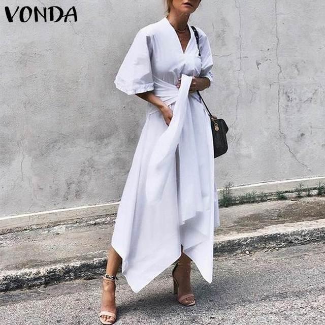 VONDA Fashion 2019 Summer Dress Vintage Long Maxi Dress Women Short Sleeve Sexy V Neck Asymmetrical High Waist Party Vestidos