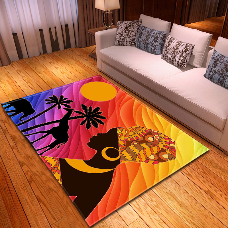Backlight Woman Head Profile Printed Carpet Rugs For Bedroom Home Living Room Decorative 8 Kinds Small